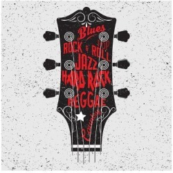 Art Print: Hand Drawn Illustration with with a Guitar Head and Lettering. Typography Concept for T-Shirt Desig by Klaus Kunstler: 12x12in