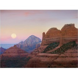 Art Print: Moon setting as seen from Shelby Hill, Sedona, Arizona by Tim Fitzharris: 38x50in