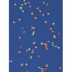 Photographic Print: China, Colorful Balloons in the Blue Sky Poster by Keren Su: 24x18in