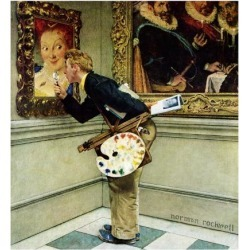 """Giclee Print: """"Art Critic"""", April 16,1955 Art Print by Norman Rockwell by Norman Rockwell: 16x16in"""