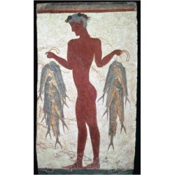Giclee Print: Minoan fresco showing a boy with fishes, 20th century. Artist: Unknown: 18x12in