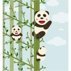 Art Print: Kawaii Bears in Forest. Funny Kawaii Panda Bears in Trees. Vector Illustration Eps8. by Popmarleo: 12x12in