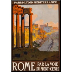 Mounted Print: Rome Italy Tourism Travel Vintage Ad Poster Print: 19x13in