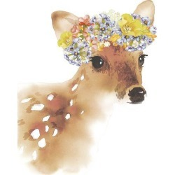 Stretched Canvas Print: Flower Crown - Deer by Kristine Hegre: 40x30in found on Bargain Bro India from Art.com for $290.00