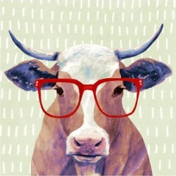 Art Print: Bespectacled Bovine I by Victoria Borges: 16x16in found on Bargain Bro Philippines from Art.com for $15.00