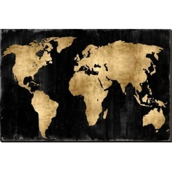 Stretched Canvas Print: The World - Gold on Black by Russell Brennan: 36x54in found on Bargain Bro Philippines from Art.com for $200.00