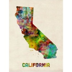 Art Print: California Watercolor Map by Michael Tompsett: 24x18in found on Bargain Bro India from Art.com for $20.00