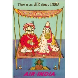 Giclee Print: There is an AIR about INDIA - Indian Maharaja - Air India by Pacifica Island Art: 26x20in