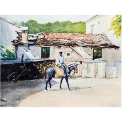 Giclee Print: Man on Donkey in Samos, Greece by Anthony Fandino: 32x24in