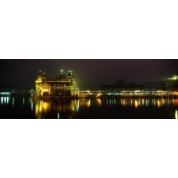 Photographic Print: Temple Lit Up at Night, Golden Temple Poster: 42x14in