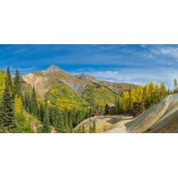 Photographic Print: Remains of Silver Mining in Red Mountain Mining District along U.S. Route 550, Colorado, USA: 24x12in