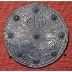 Giclee Print: Cast lead-alloy disc brooch. Artist: Unknown: 16x16in