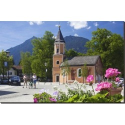 Stretched Canvas Print: Sebastian's Church with View of the Kramer Mountain in Garmisch-Partenkirchen, Germany: 36x54in found on Bargain Bro Philippines from Art.com for $236.00