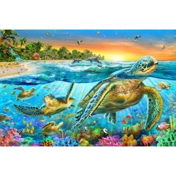 Art Print: Underwater Turtles by Adrian Chesterman: 24x16in