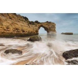 Photographic Print: Waves crashing on the sand beach surrounded by cliffs, Albandeira, Lagoa Municipality, Algarve, Por by Roberto Moiola: 36x24in