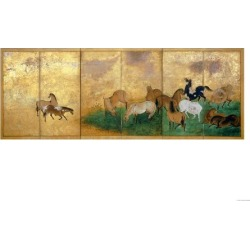 Giclee Print: A Six Panel Screen Painted in Sumi, Colour and Gofun on Gold-Sprinkled Paper: 16x12in