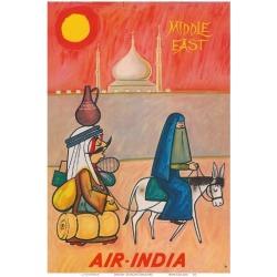 Art Print: Middle East - Air India - Maharaja with Burka Veiled Woman by J B. Cowasji: 19x13in