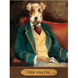 Art Print: Edgar Allen Paw With Plaque by Wild Apple Portfolio: 32x24in