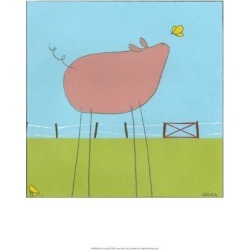 Art Print: Stick-Leg Pig Wall Art by Erica J. Vess by Erica J. Vess: 19x13in found on Bargain Bro Philippines from Art.com for $20.00