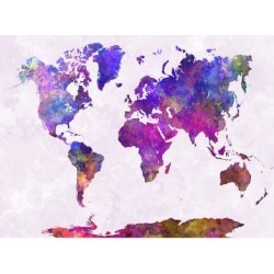 Giclee Print: World Map in Watercolor Purple Warm by paulrommer: 24x18in