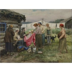 Giclee Print: Hungry years in Petrograd. Changing merchandise for provisions in a village near a railway station: 12x9in