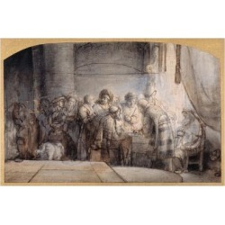 Giclee Print: Judas Receiving the Thirty Pieces of Silver, C.1640 (Pen and Ink over Red Chalk over Wash on Paper) by Samuel van Hoogstraten: 24x16in