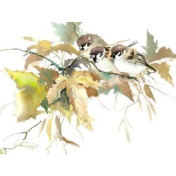 Giclee Print: Sparrow And Fall 2 by Suren Nersisyan: 24x32in found on Bargain Bro from Art.com for USD $55.48