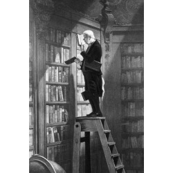 Photographic Print: Man Reading on Ladder in Library: 12x8in