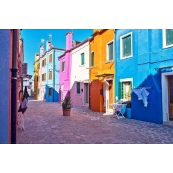 Photographic Print: Brightly Colored Houses in Burano, Italy by Steven Boone: 18x12in
