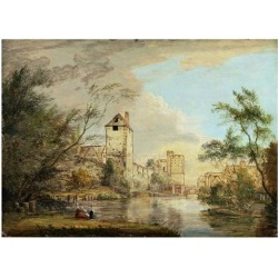 Giclee Print: An Unfinished View of the West Gate, Canterbury, C.1790-1800 (Pen, Brown Ink and Oil on Paper) by Paul Sandby: 24x18in