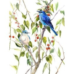 Giclee Print: Mountains Bluebirds And Berries by Suren Nersisyan: 40x30in found on Bargain Bro from Art.com for USD $123.87