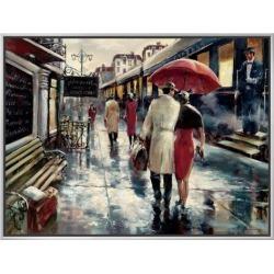 Framed Canvas Print: Framed Train Station Art by Brent Heighton: 23x30in