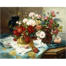 Giclee Print: Still Life with Flowers and Sheet Music, C.1877 by Jules Etienne Carot: 24x18in