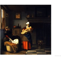 Giclee Print: A Young Woman and a Girl Putting a Baby to Bed in a Cradle in an Interior by Pieter de Hooch: 24x18in