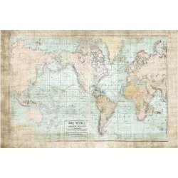 Art Print: World Map Vintage 1913 by Ramona Murdock: 24x16in