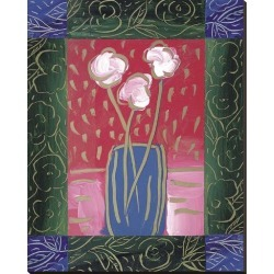 Stretched Canvas Print: Pink Flowers on Red by James Hussey: 50x40in found on Bargain Bro from Art.com for USD $133.00