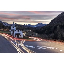 Photographic Print: Lights of car trails around the Church of San Cipriano, Tires Valley, Dolomites, South Tyrol, Bolza by Roberto Moiola: 36x24in