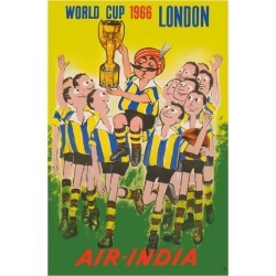 Giclee Print: 1966 World Cup London, England - Air India - Maharaja Soccer Player by Pacifica Island Art: 44x30in