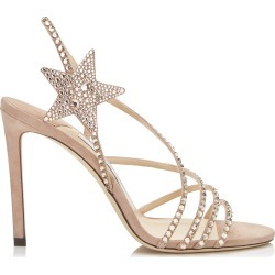 LYNN 100 Ballet Pink Suede Sandals with Hotfix Crystals found on MODAPINS from Jimmy Choo UK for USD $1280.16