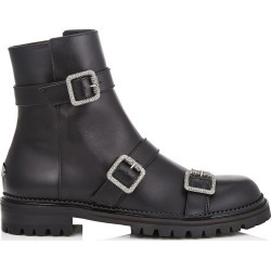 HANK FLAT Black Smooth Leather Flat Boots with Jewel Buckles found on MODAPINS from Jimmy Choo UK for USD $1264.36