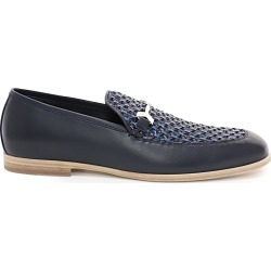 MARTI Navy Woven Fabric and Aqua Leather Loafers found on MODAPINS from Jimmy Choo UK for USD $723.98