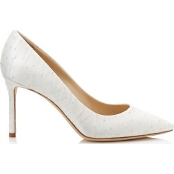 ROMY 85 Silver Satin Pointy Toe Pumps with Glitter Polka Dots and White Cloudy Tulle found on MODAPINS from Jimmy Choo UK for USD $820.61