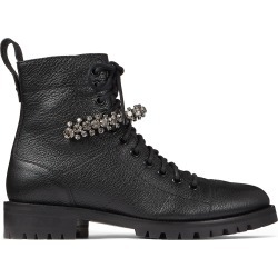 CRUZ FLAT Black Grainy Leather Combat Boots with Crystal Detailing found on MODAPINS from Jimmy Choo UK for USD $1137.29
