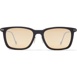 RYAN Grey Acetate Square Sunglasses with Silver Mirror Lenses