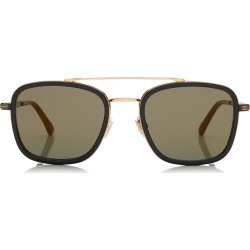 JOHN Black and Gold Square Frame Sunglasses with Mirror Lenses found on MODAPINS from Jimmy Choo UK for USD $402.91