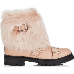 HANK FLAT Ballet Pink Grainy Leather Flat Boots with Ballet Pink Shearling found on MODAPINS from Jimmy Choo UK for USD $1264.36