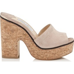 DEEDEE 125 Ballet Pink Suede Sandal Wedge with Stitching found on MODAPINS from Jimmy Choo UK for USD $541.41