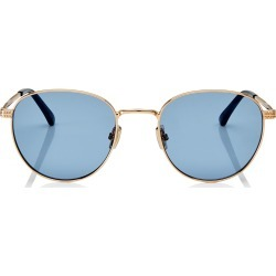 HENRI Gold Oval Metal Sunglasses with Blue Lenses found on MODAPINS from Jimmy Choo UK for USD $346.25
