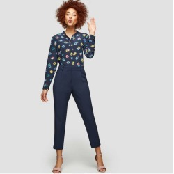 Joe Fresh Women's Cropped Pleated Pant, JF Midnight Blue (Size 2)