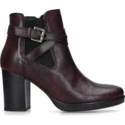 Carvela Silver - Wine Leather Block Heel Ankle Boots found on Bargain Bro UK from Kurt Geiger UK